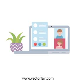 stay at home, meeting online laptop people, potted plant