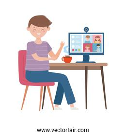 stay at home, education online boy with computer camera talking people