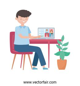stay at home, education online boy with computer talking people