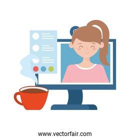 stay at home, computer coffee cup, girl on screen communication