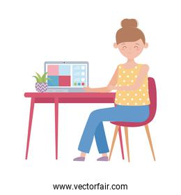 stay at home, online education teacher with computer