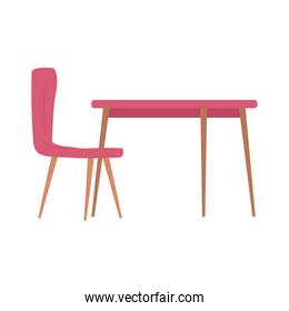 red table and chair furniture decoration isolated design