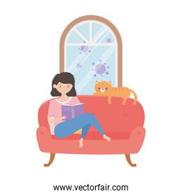 stay at home, girl reading book on sofa with cat cartoon