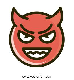 imp funny smiley emoticon face expression line and fill icon