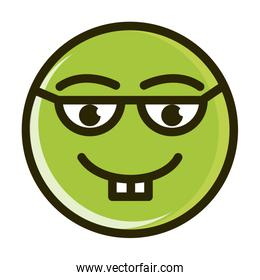 nerd funny smiley emoticon face expression line and fill icon