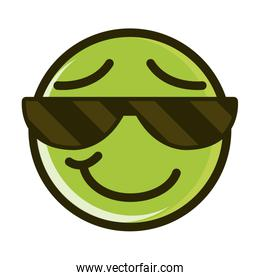 sunglasses funny smiley emoticon face expression line and fill icon