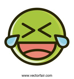 laugh tears funny smiley emoticon face expression line and fill icon