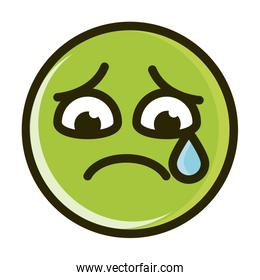 sad tear funny emoticon face expression line and fill icon