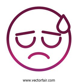 sweat funny smiley emoticon face expression gradient style icon