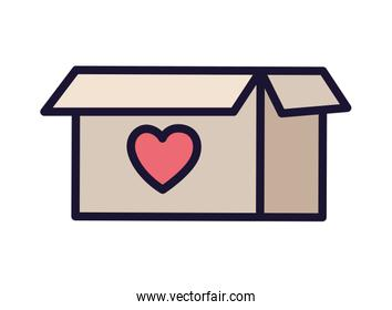 cardboard box with heart, symbol of donation and charity