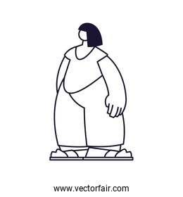 young woman standing, line style icon