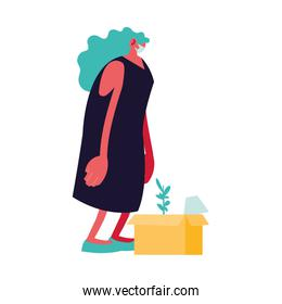 woman with a cardboard box, unemployment