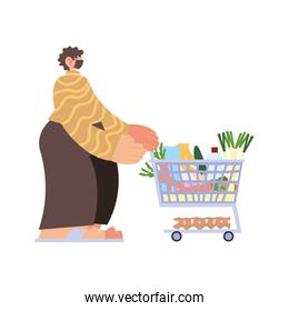 man with medical mask and supermarket cart on white background