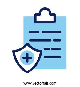 shield insurance with clipboard line and fill style icon