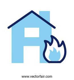 house property insurance fire line and fill style icon
