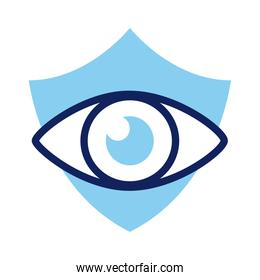 shield insurance with eye line and fill style icon