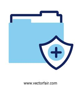 shield insurance with folder line and fill style icon