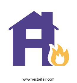 house property insurance fire silhouette style icon