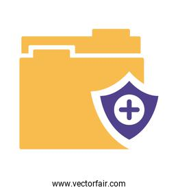 shield insurance with folder silhouette style icon