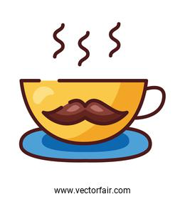 coffee cup with dad mustache line and fill style icon