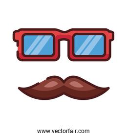 dad mustache and eyeglasses hipster line and fill style icon