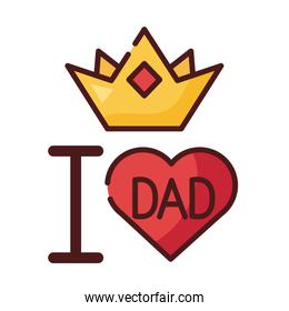 i love dad heart and crown line and fill style icon