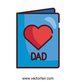 card with dad mustache and heart line and fill style icon