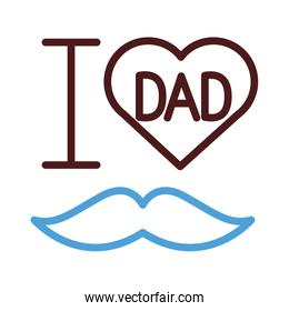 i love dad with mustache hipster line style icon