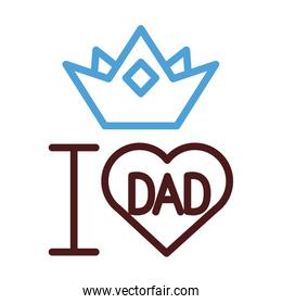 i love dad heart and crown line style icon