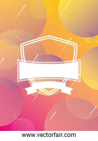 orange and pink vibrant colors background with shield