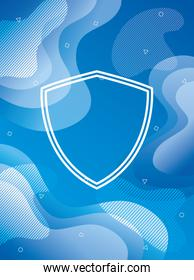blue vibrant colors background with shield