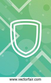 green vibrant colors background with shield