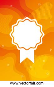 orange vibrant colors background with medal
