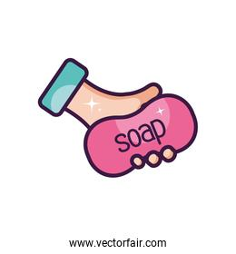 hand hygiene concept, hand holding a soap bar icon, line color style