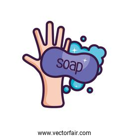hand with soap bar with foam, line color style