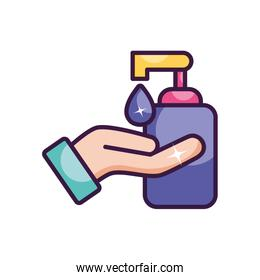 soap bottle and hand with soap drop, line color style
