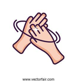 hand washing gesture icon, line color style