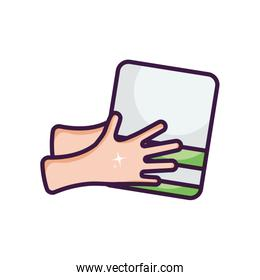 clean hands with towel icon, line color style
