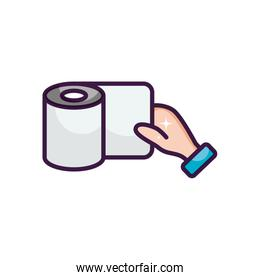 hand and toilet paper icon, line color style