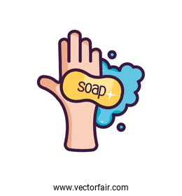 hand washing with soap bar icon, line color style