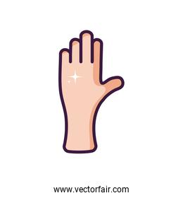 clean hand icon, line color style
