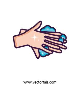 hands hygiene with soap foam, line color style