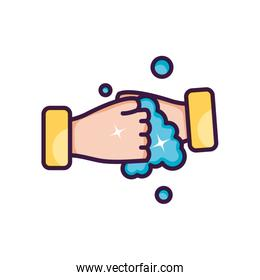 hand washing gesture with soapy water, line color style