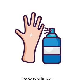 clean hand and antibacterial spray can design, line color style