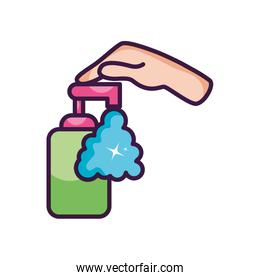 hand pushing a hand soap bottle dispenser icon, line color style