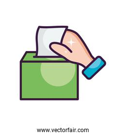 hand with tissues box icon, line color style