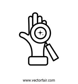 magnifying glass and clean hand icon, line style