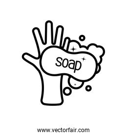 hand with soap bar with foam, line style