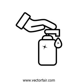 hand with soap dispenser bottle icon, line style
