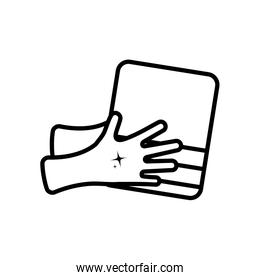 clean hands with towel icon, line style